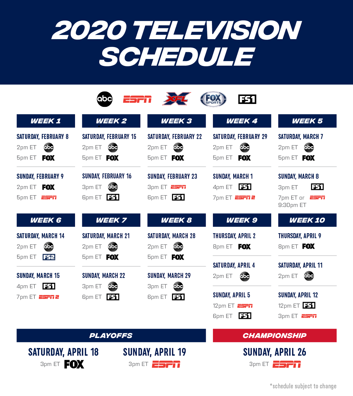2020 Nfl Playoff Schedule.Xfl 2020 Television Schedule Review