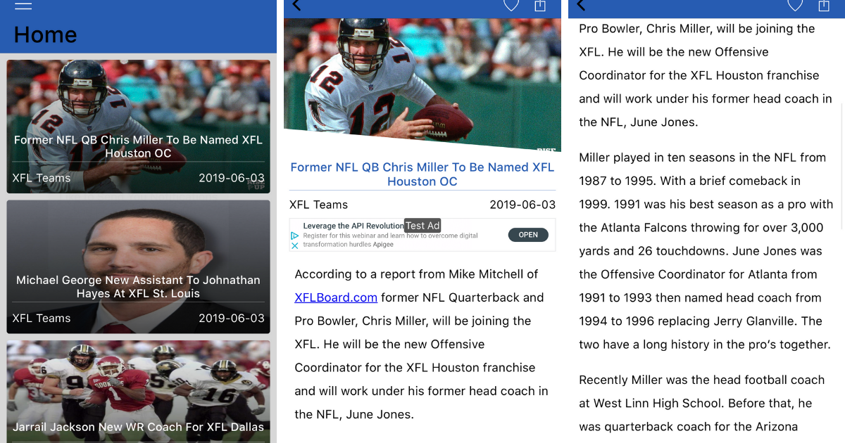 XFL News App For iPhones & iPads From XFL News Hub
